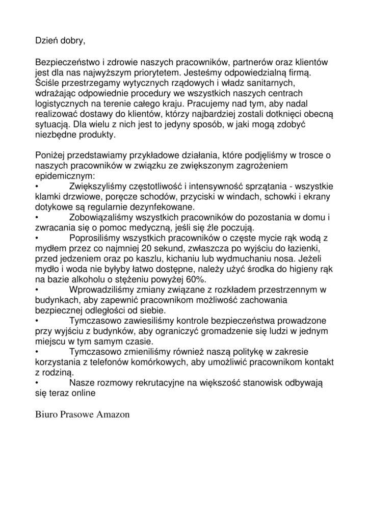 Praca w Amazonie w Poznaniu. Odpowiedź Biura Prasowego Amazon. Źródło: radioemaus.pl